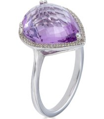 pink amethyst (7-1/2 ct. t.w.) & white topaz (1/5 ct. t.w.) statement ring in sterling silver
