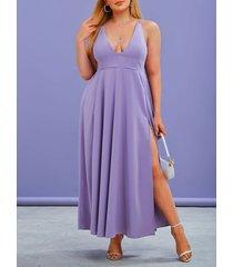 plus size cross back slit long cami prom dress
