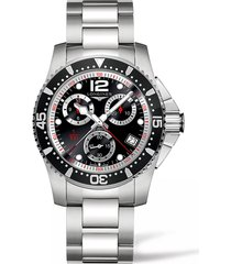 longines hydroconquest chronograph bracelet watch, 41mm in silver/black/silver at nordstrom