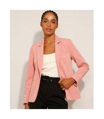 blazer com bolsos e botão rosa