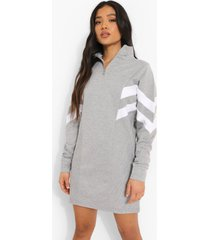 petite colour block sweatshirt jurk met korte rits, grey marl