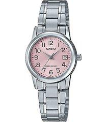 reloj casio ltp-v002d-4b análogo plateado para mujer