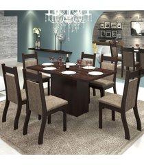 mesa de jantar 6 lugares moscou nogueira/dakota - viero móveis