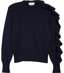 alexander mcqueen ruffle wool & cotton sweater, size x-large in navy at nordstrom