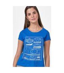 camiseta batman moldura batmóvel blueprint feminina