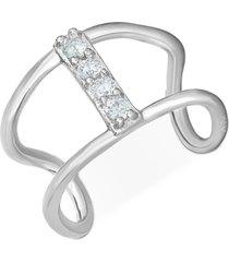diamond accent single ear cuff in 14k white gold