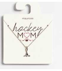 maurices womens dainty silver hockey mom necklace gray