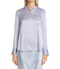 women's vince slim fit band collar silk shirt, size 2 - purple