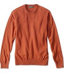 cotton/silk/cashmere crewneck sweater, orange, xx large
