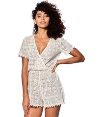 off white lace short jumpsuit