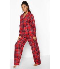 geborstelde geruite pyjama set met knopen en broek, red