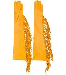 manokhi long fringed gloves - yellow