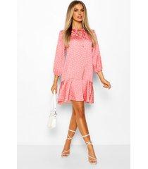 gesmokte jurk met polkastippen en peplum zoom, rose