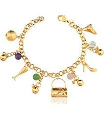pulseira toque de joia multi berloques e pedras naturais