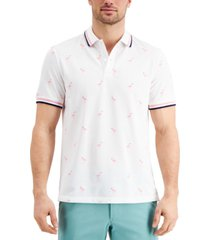 club room men's stretch flamingo pattern polo shirt, created for macy's