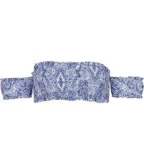 calzedonia elsa sleeved bandeau bikini top woman blue size 3
