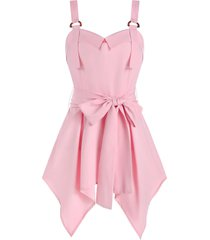 d-ring hanky hem belted flare tank top