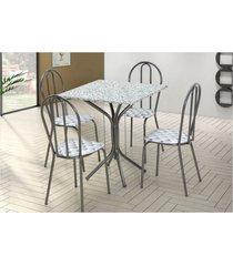 jogo de mesa artefamol e 04 cadeiras thais com tampo em mdf craquelada cinza