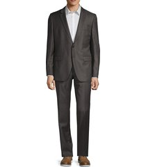 boss hugo boss men's t-harver wool suit - dark brown - size 36 r