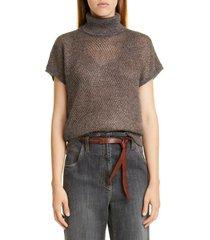 women's brunello cucinelli sparkling mesh turtleneck sweater