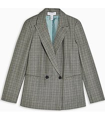 tall mint check double breasted blazer - mint