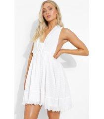 geplooide mini jurk met laag decolleté, white