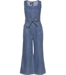squareneck wide-leg denim jumpsuit jumpsuit gap