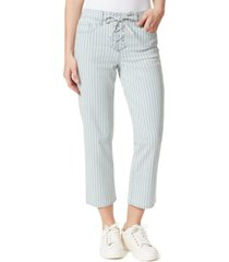 frayed cropped lace-up jeans