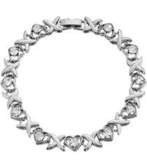 2028 crystal heart link bracelet