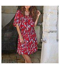 rayon tunic-style dress, 'strawberry bouquet' (indonesia)