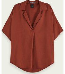 scotch & soda relaxed fit blouse met korte mouwen