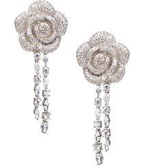 cubic zirconia 3d pavé flower drop earrings