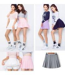 women lady tennis high waist plain skater flared pleated short mini skirt shorts
