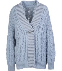 ermanno scervino light blue wool blend cardigan with crystals and bijoux brooch