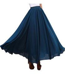 long chiffon skirt teal blue chiffon maxi long skirt high waist bridesmaid skirt