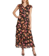 tahari asl floral-print cascading ruffled maxi dress
