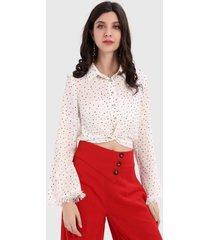 blusa corta lunares blanco nicopoly