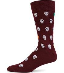 paul smith men's skull crew socks - burgundy