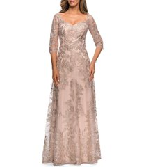 women's la femme floral embroidered mesh a-line gown, size 14 - beige
