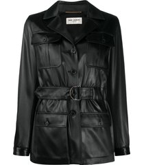 saint laurent tied-waist single-breasted coat - black