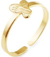 anel sapatilha regulável infantil banhado a ouro 18k