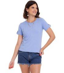 blusa manola t-shirt azul beb㪠- azul - feminino - elastano - dafiti