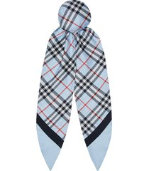 burberry vintage check print silk hair scarf - blue
