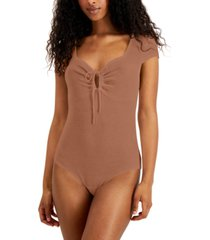 self esteem juniors' ribbed tie-front bodysuit