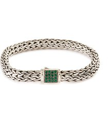 'classic chain' sapphire emerald silver bracelet