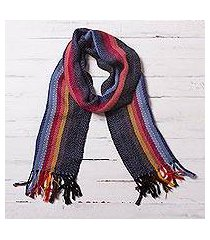 100% alpaca scarf, 'rugged rainbow' (peru)