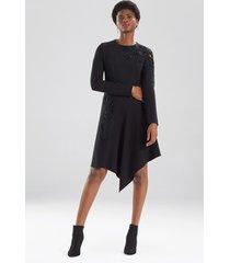 compact knit crepe dress, women's, black, size 4, josie natori