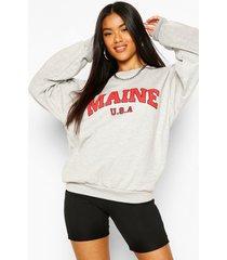 extreem oversized maine sweater met tekst, grey marl