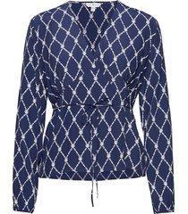 leonora wrap blouse ls blouse lange mouwen blauw tommy hilfiger