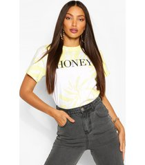 lang tie-dye t-shirt met 'honey'-slogan, geel